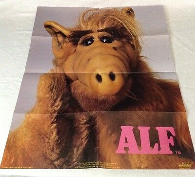 """Vintage 80's ALF Poster (16"""" X 20"""" ) tv series AUTHENTIC 1988 Folded"""
