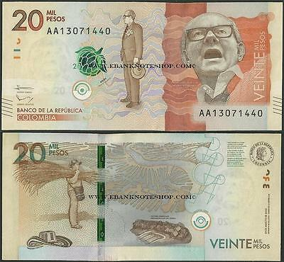 Colombia,20000 Pesos,2016,Uncirculated,beautiful note