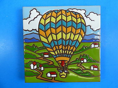 "Ceramic Art Tile 6""x6"" Hot Air Balloon colorful trivet wall hand Painted New G99"