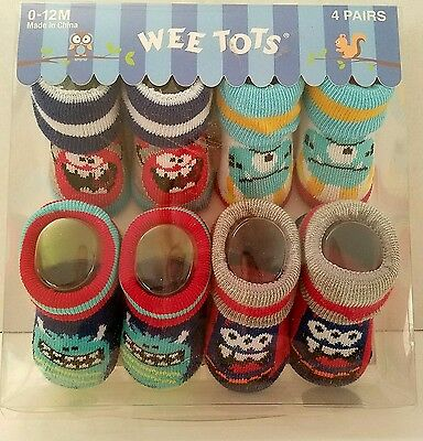 Baby Boy Socks Set Monsters 4 Pairs Wee Tots 0 - 12 Months Blue Red