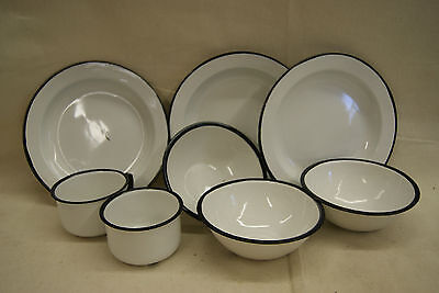 8 pcs Vintage Enamelware Enamel ware White with Black accents Camp Tableware