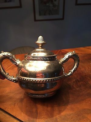 """ANTIQUE Silver CHROME Covered SUGAR BOWL 2 FANCY ORNATE HANDLES 4.5"""" tall"""