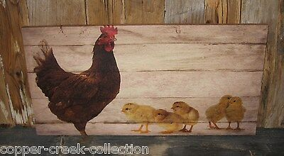 Rooster Chicken Chicks Canvas Picture Wall SIGN~Primitive/French Country Decor