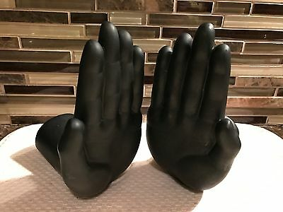 """Luyesa Design Plastic Black """"High Five"""" Figural Hand Shaped Bookends (2)"""