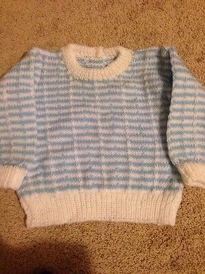 Baby Boy  / Toddler Hand Knitted Blue And White Jumper
