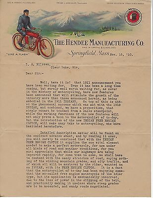 Original Hendee Manufacturing Indian Motorcycle Letter Clear Lake WI Signed 1910