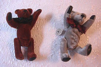 Collectible Boyds Miniature Jointed Teddy Bear Wuzzies Fulton Farley Gray Rust