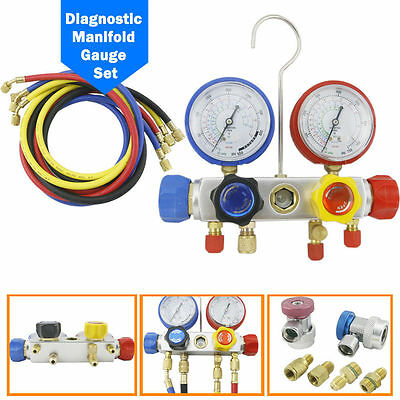 """4 Way AC Manifold Gauge Set R410a R22 R134a w/ 60"""" Hoses+ Coupler Adapters New T"""