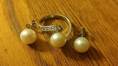Genuine 10mm Pearl Ring with diamond accents & Earring Set. Absolutely stunning!