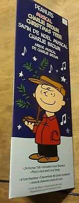 "Official Peanuts Charlie Brown Musical Christmas Tree Linus Blanket 24"" 50 year"