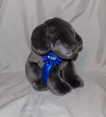"FAO Schwarz 10"" Blue Ribbon Stuffed plush CHOCOLATE LABRADOR Puppy Dog Lab Brown"
