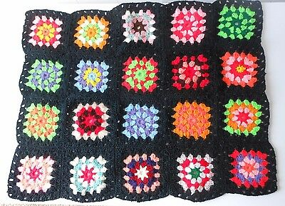 "VTG 30"" X 25"" Crochet Afghan Granny Squares Lap Blanket Throw Stained Glass"