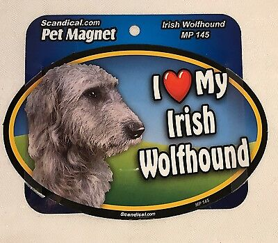 "Scandical I Love My IRISH WOLFHOUND Dog Laminated Pet Magnet 4"" x 6"" NEW MP145"