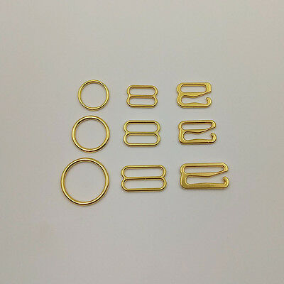 100pcs / lot Gold alloy metal clip bra rings and sliders nickel and lead free