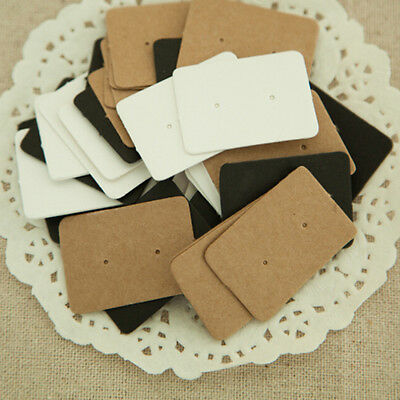 50/100X Display Type Earring Ear Studs Holder Hang Hanging Kraft Paper Cards  IO