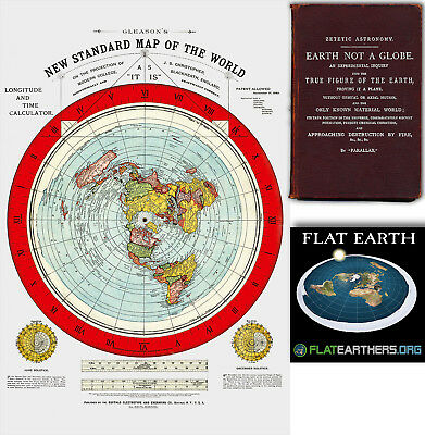 """Flat Earth Map - Gleason's New Standard Map Of The World - Large 24"""" x 36""""  1892"""