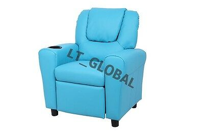 PU Leather Recliner Chair Children Sofa Arm Drink Holder Blue . High Quality