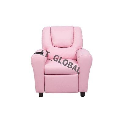 Padded PU Leather Recliner Chair Children Sofa Arm Drink Holder Pink Colour