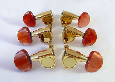 For Acoustic guitar gold machine head with Amber red buttons 6ps 235G-A3R