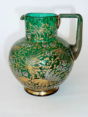 Antique ART GLASS JUG MOSER era HAND PAINTED ENAMEL/ GILT emerald green BOHEMIAN