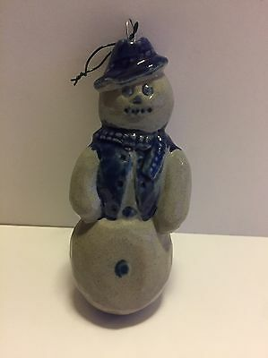 Rowe Pottery Works RPW Snowman Christmas Ornament Cambridge WI Saltglaze Cobalt