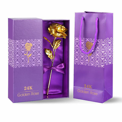 24K Gold Foil Rose Floral Thanksgiving Valentine's Day Mother Day Free Gift Box