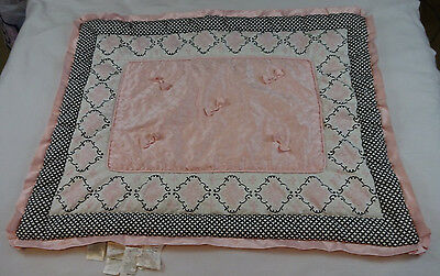 Lambs & Ivy Duchess Crib Comforter Pink Black White Damask Bows Baby Bedding EUC