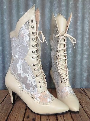 VINTAGE 80's Polly Of California VICTORIAN STEAMPUNK Lace HEELED BOOTS 6 Wedding