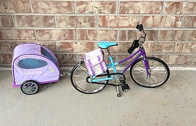 EUC Retired American Girl Trail Bike with Pet Trailer Pretend Play Doll Bicycle