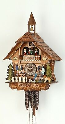 Cuckoo Clock Black Forest house with moving mill wheel and cloc.. KA 3653 EX NEW
