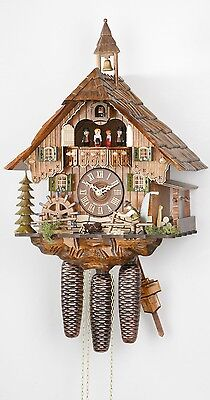 Cuckoo Clock Black Forest house with moving wood chopper and mil.. KA 3683/8 NEW