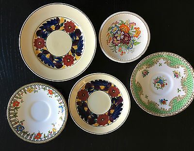 5 Vintage Plates and Saucers - Hand Painted, Art Deco, 1930s-1950s