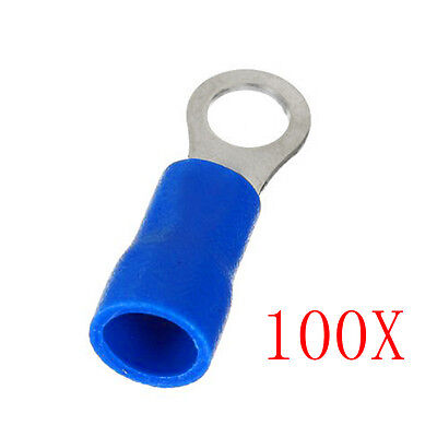 100PCS Ring Ground Insulated Connector Electrical Crimp Terminal 14-16AWG Top