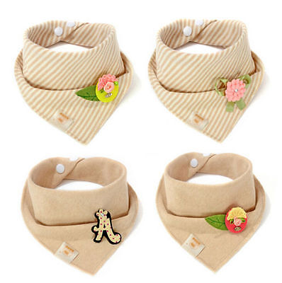 Children Baby Kids Toddler Feeding Bandana Bibs Towel Cotton Triangle Head Scarf