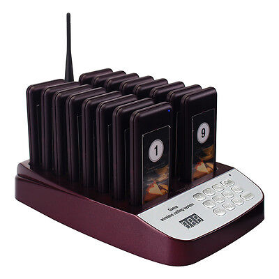 999CH Restaurant Wireless Paging Queuing System +16X Call Coaster Pager+Track No