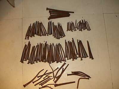 """Vintage Lot Of 126 Square Nails 1-1/4"""" To 4"""" From """"old Hangtown"""""""