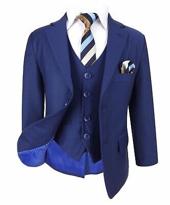 Boys Navy & Gold Suit in 3 or 5 PC, Pageboy, Wedding Suits for Boy