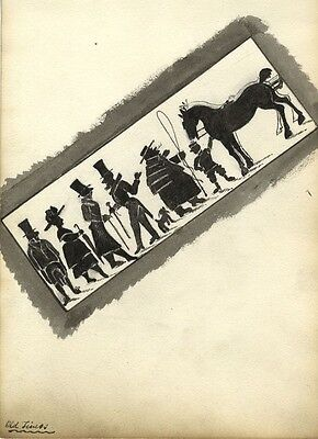 """Victorian 19th-Century Traditional Silhouette Illustration Drawing, """"Old Times"""""""