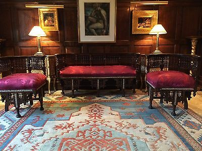 Exquisite Antique Syrian Sofa & Armchairs Mother of Pearl Victorian 19th Century