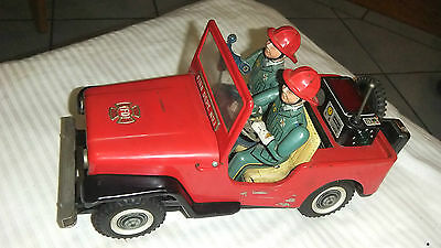 Vintage1960's Rare Tin Fire Dept .No1 Jeep Battery Operated made in japan