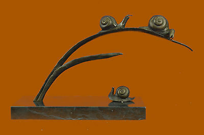 Bronze Sculpture Collector Edition Family Snails Hot Cast Marble Base Figurine