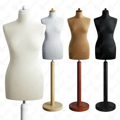 SIZE 10 FEMALE Mannequin Tailors Bust Dressmakers Dummy Torso Round Base S2