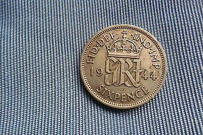 GEORGE VI 50% SILVER LUCKY SIXPENCE 6d COIN year 1944