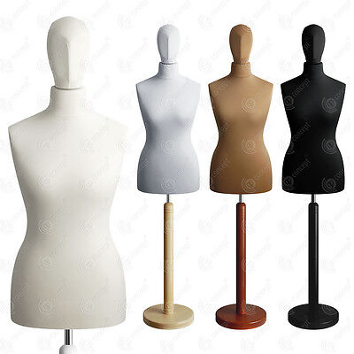 SIZE 12-14 FEMALE Mannequin with Head Tailors Bust Dummy Torso Round Base S2
