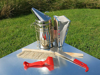 Bee Keeper Starter Kit Stainless Smoker, Hive Tool, Bee Brush and Uncapping Fork