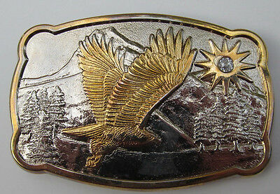 American Eagle Silver Gold Rhinestone Western Style Belt Buckle Numbered Series