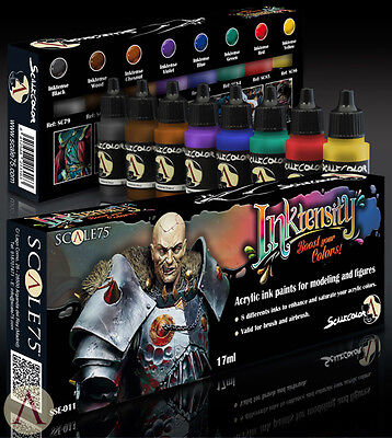 PAINT SET INKTENSITY Ink-Set SSE-011 Acrylic ink paints Scale75 Airbrush Brush