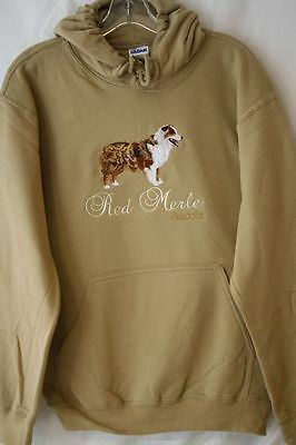 Red Merle Australian Shepherd Dog Embroidered On a Small Hooded Sweatshirt