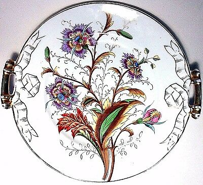 """Vtg 11"""" Hand Painted Floral Germany Coupe Plate Platter Tray Handled Gold Gilt"""