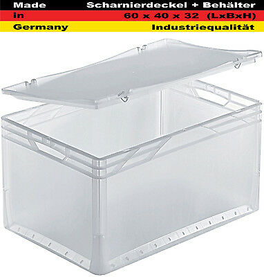 Lagerkiste+Scharnierdeckel Transportbox Euro Stapelbox transparent 60x40x32cm